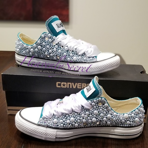 Converse Shoes - Turquoise Custom Bling Converse c0cf02e35